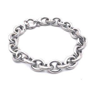 Solid 14k White Gold Rolo Link Bracelet 9.8g